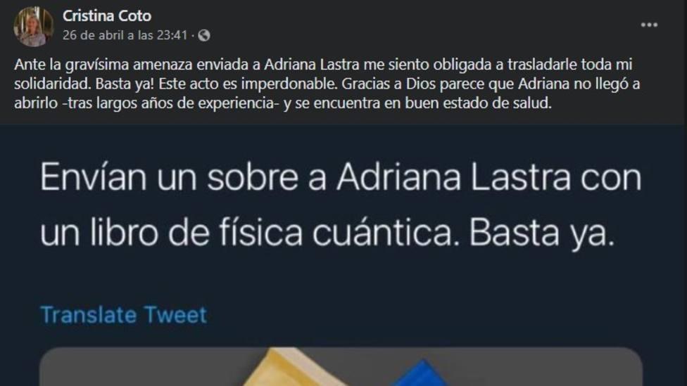 Mensaje de Cristina Coto en Facebook