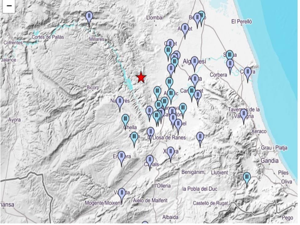 Poblaciones donde se ha sentido el temblor