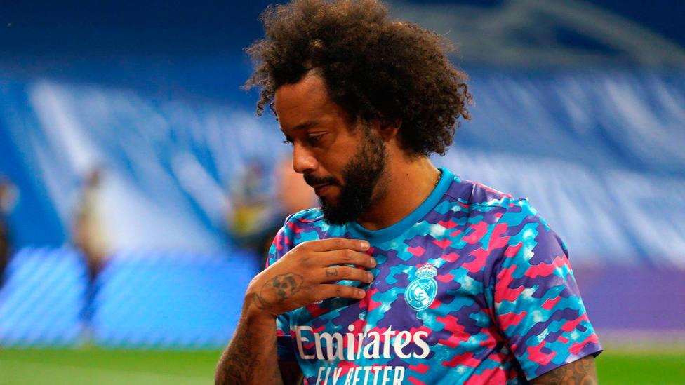 Marcelo, durante el calentamiento previo al Real Madrid - Celta de LaLiga Santander. CORDONPRESS