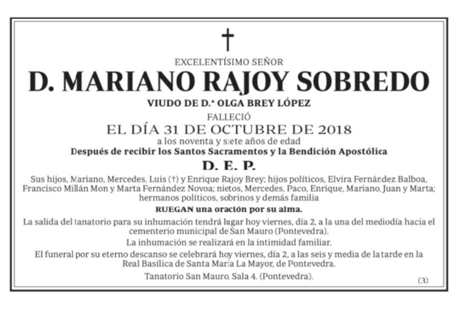 La esquela que despide al padre de Rajoy en la prensa