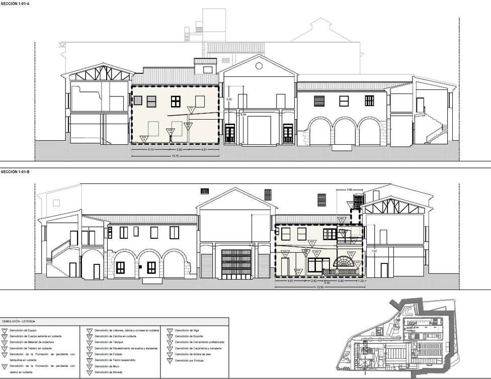 Plano de la recuperación de las edificaciones de la antigua Fábrica de Tabacos (Ayuntamiento)