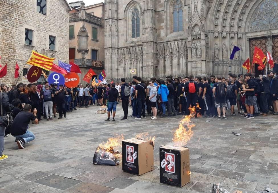 Arran quema imágenes de Felipe VI y jueces en una manifestación de la Diada