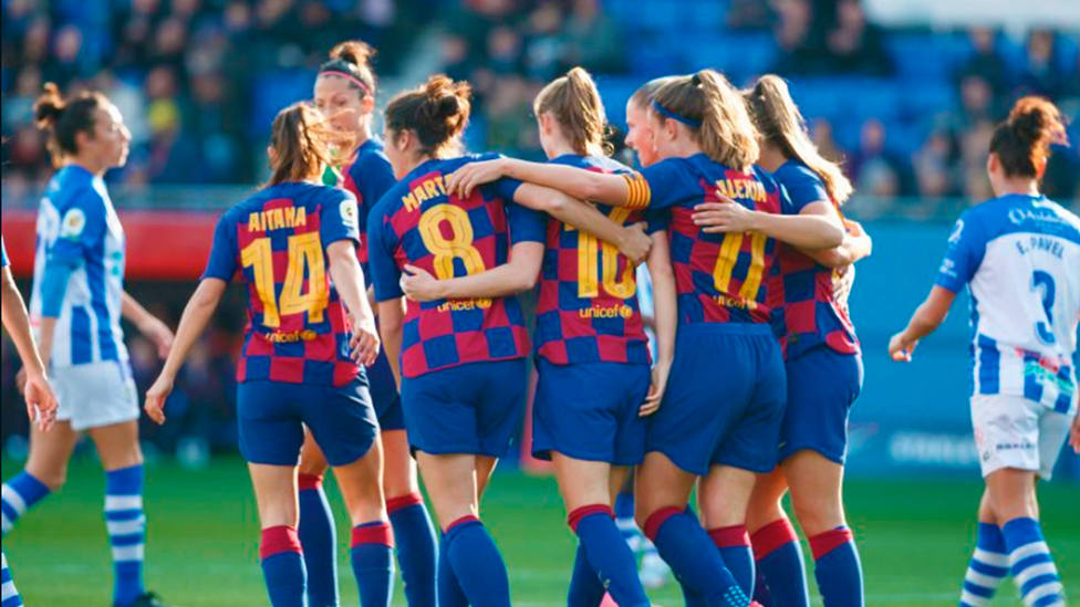 Victoria del Barça ante el Sporting Huelva (@LaLiga)