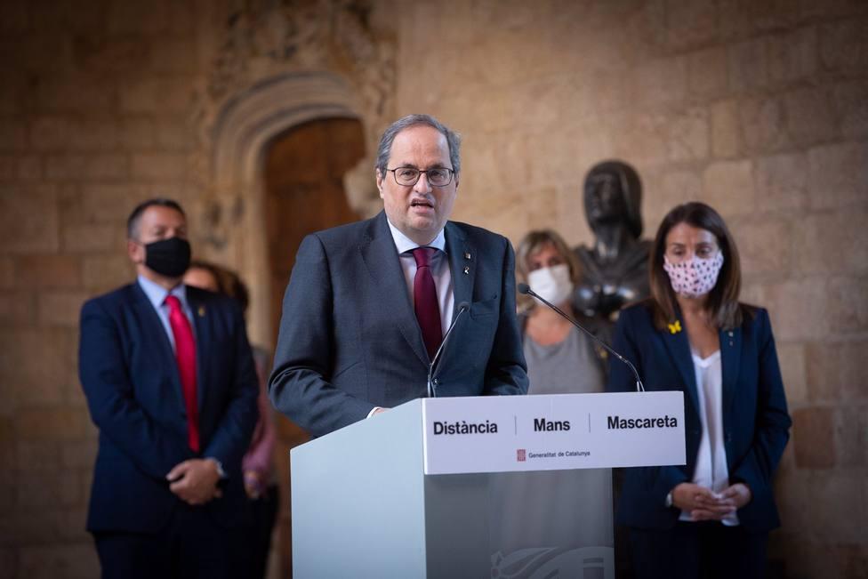 El president de la Generalitat, Quim Torra, realiza una declaración institucional horas después de conocerse s