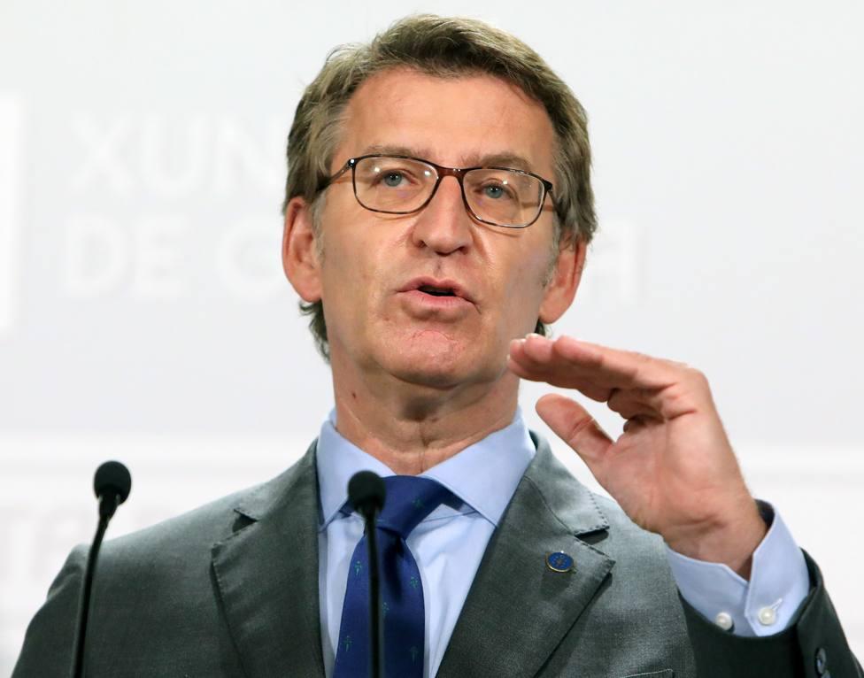 Rueda de prensa de Núñez Feijóo tras la reunión del Consello de la Xunta de este viernes - FOTO: EFE/Xoán Rey