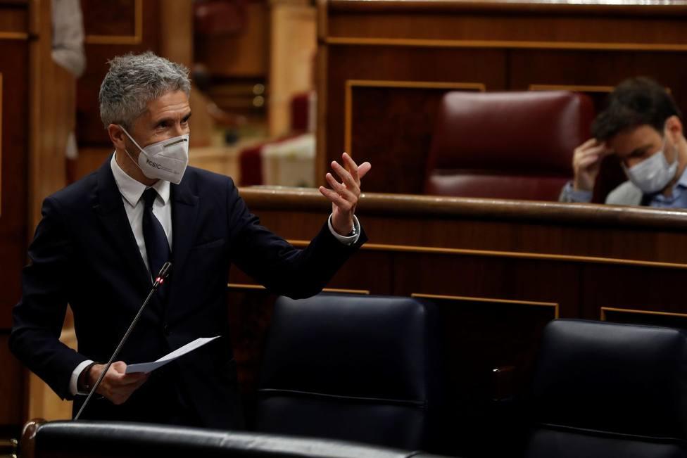El ministro del Interior Fernando Grande-Marlaska en la sesión de control al Gobierno en el Congreso