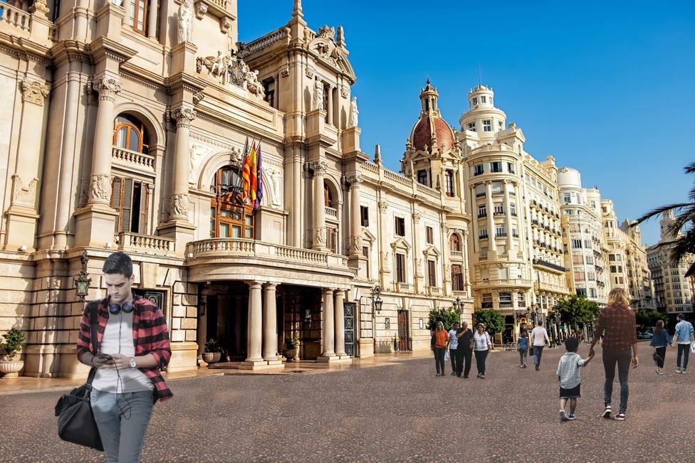Reasfaltado plaza Ayuntamiento València