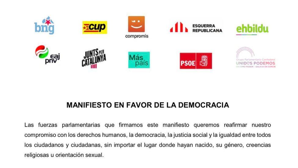 El PSOE firma un manifiesto junto a Bildi y ERC en favor de la democracia