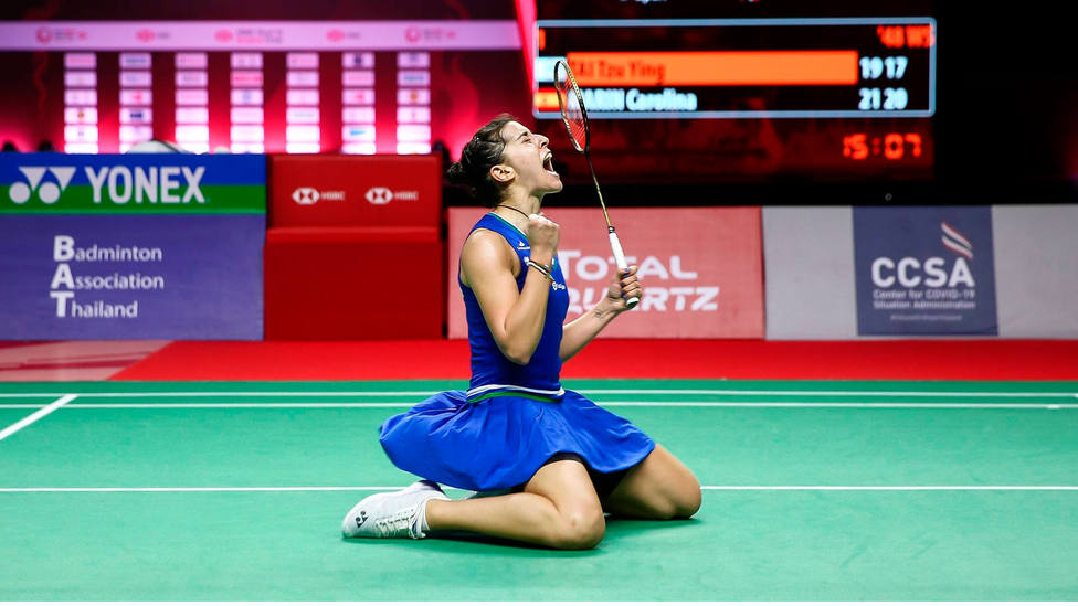 Carolina Marín celebra si quinto título de Europa de bádminton. CORDONPRESS