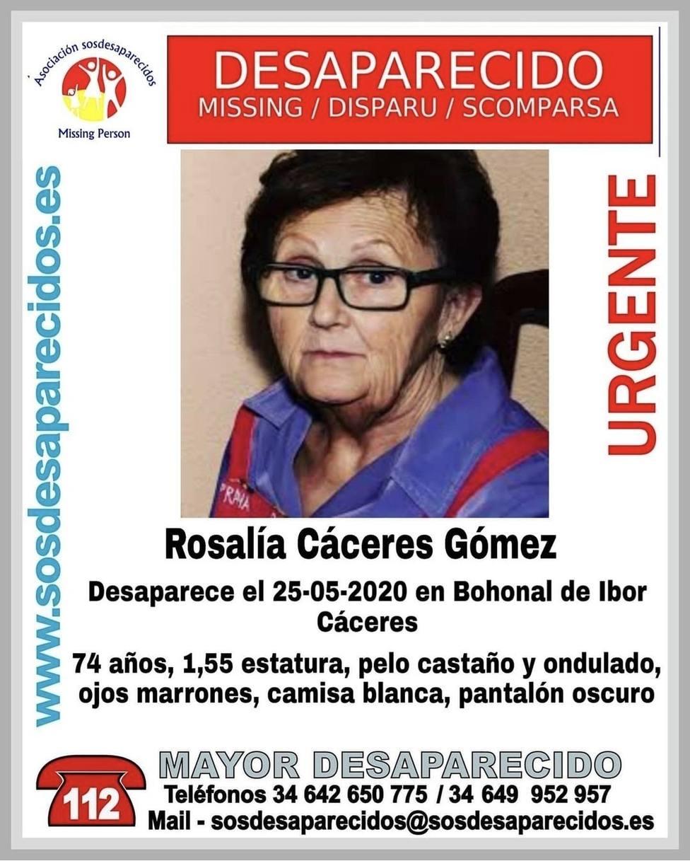 Rosalía Cáceres, desaparecida en Bohonal de Ibor (Cáceres) el 25 de mayo de 2020. Foto: Sos desaparecidos