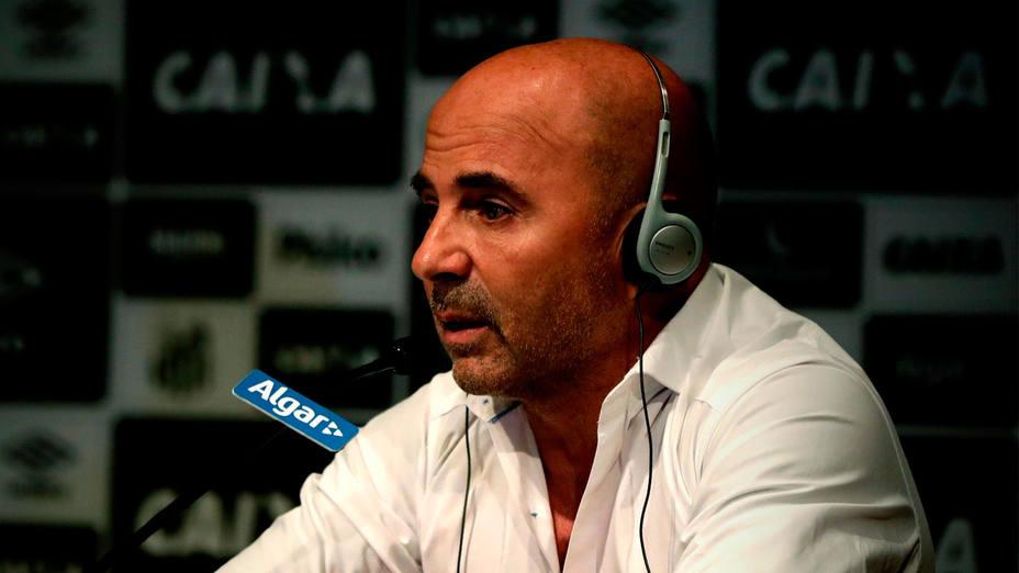 Jorge Sampaoli, durante su presentación como enternador del Santos. EFE