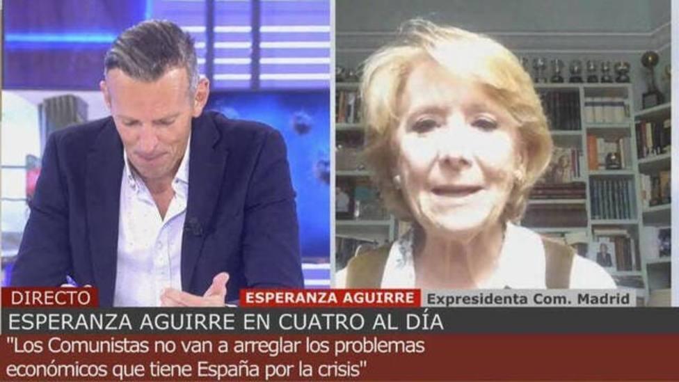 """Tenso enfrentamiento entre Joaquín Prat y Esperanza Aguirre: """"Eso son datos de ese podemita"""""""