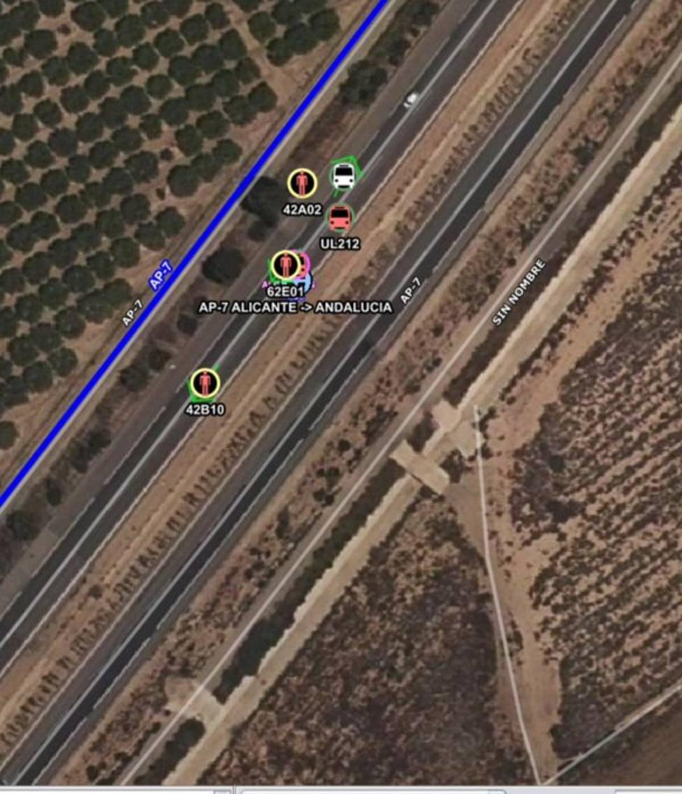 Dos fallecidos en un accidente tráfico en la autopista AP-7, a la altura de Los Narejos