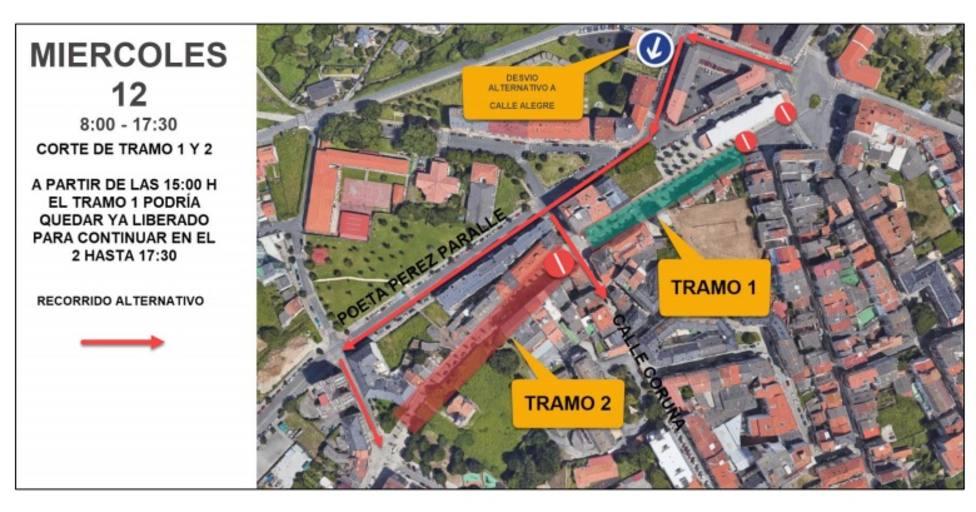 Actuaciones previstas para el miércoles y sentido de circulación - FOTO: Concello de Ferrol