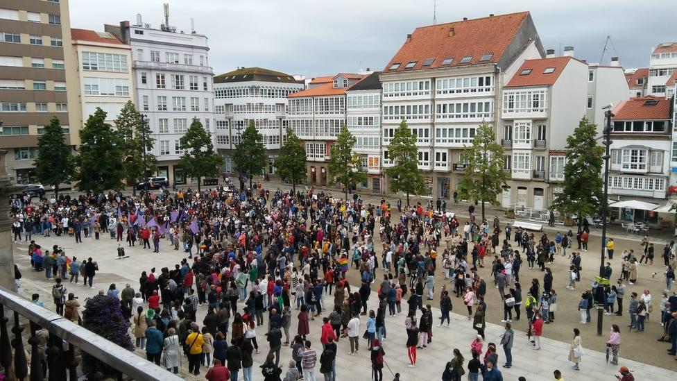 La muestra más multitudinaria tuvo lugar en la Plaza de Armas en Ferrol. FOTO: BNG Ferrol