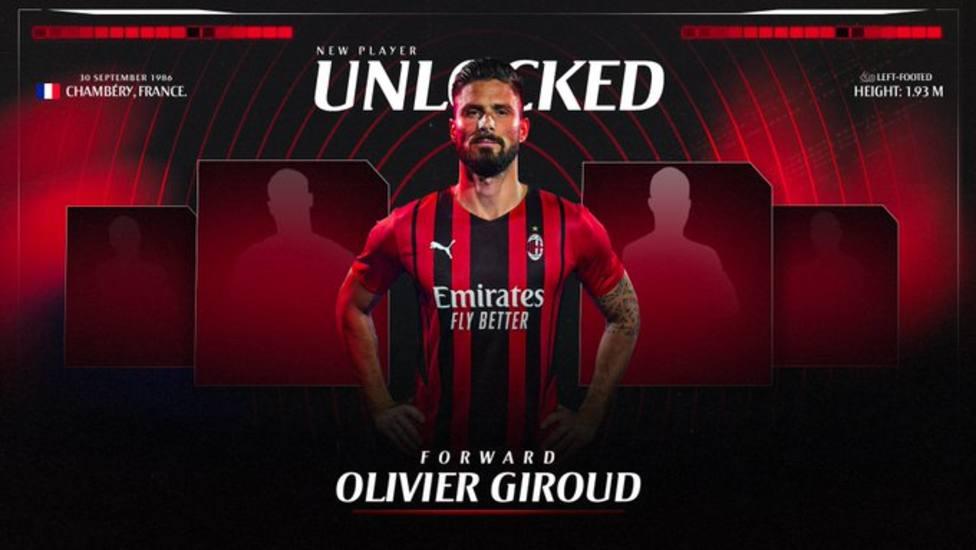 Olivier Giroud, nuevo jugador del Milán
