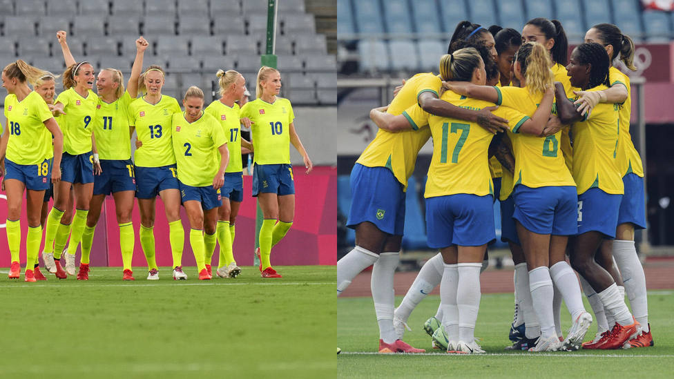 Selecciones de Suecia y de Brasil celebrando sus respectivas victorias en el comienzo de los Juegos