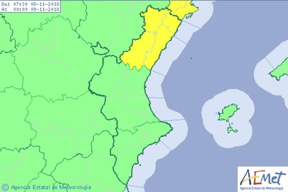 Aviso amarillo por lluvias en Castellón