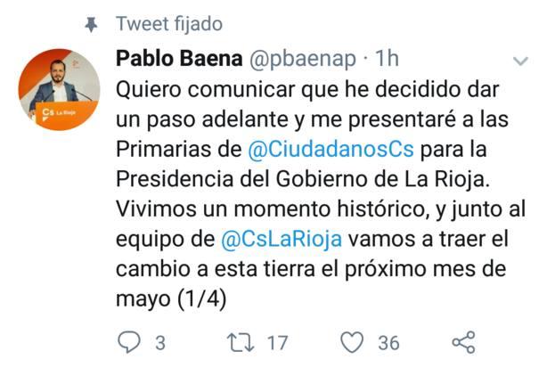 Baena anuncia que se presenta a las primarias de Cs para la presidencia del Gobierno riojano