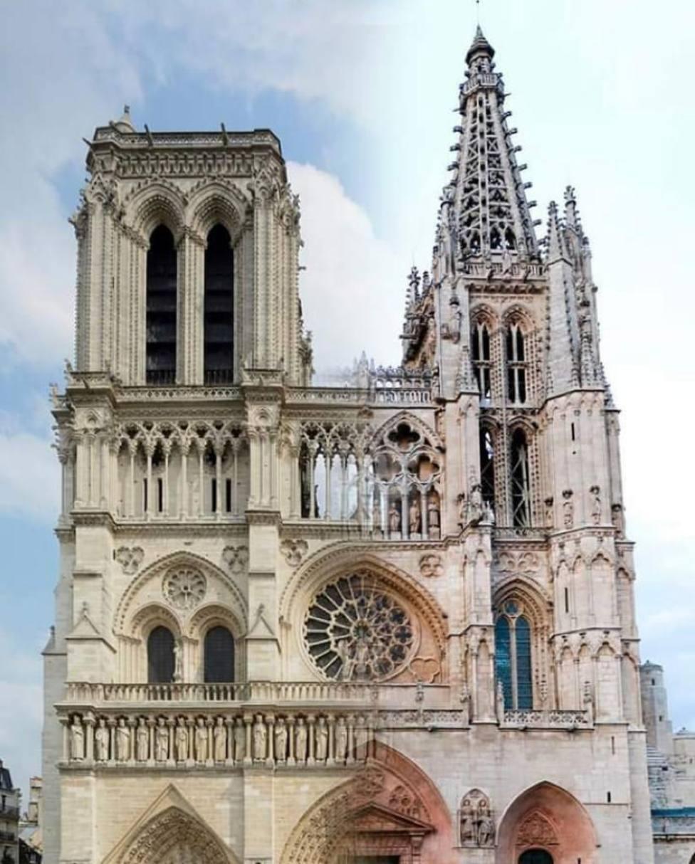 Juego de imágenes con las catedrales de Notre Dame (París) y Burgos.