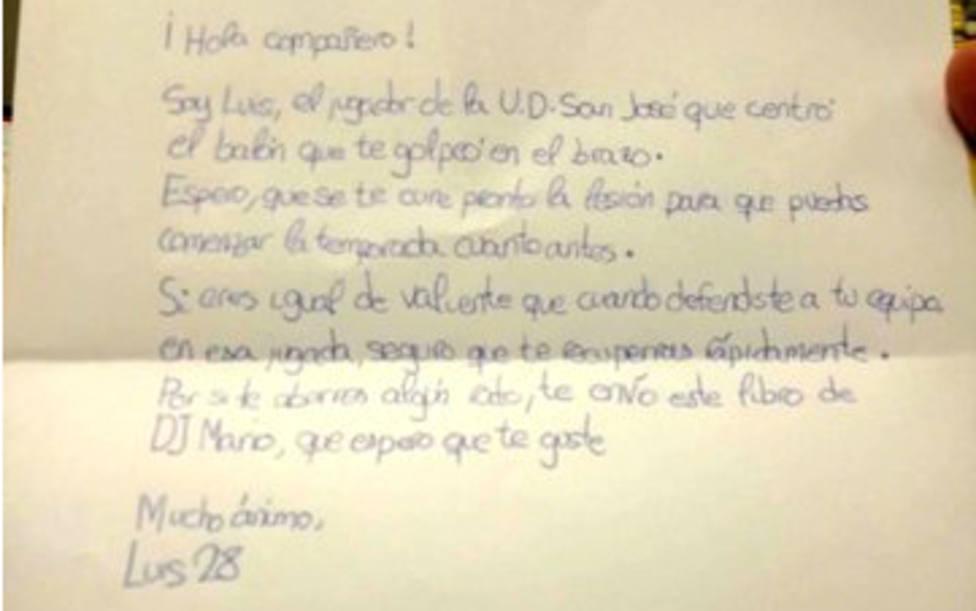 La carta viral de un niño de 10 años que desea una pronta recuperación al rival al que lesionó