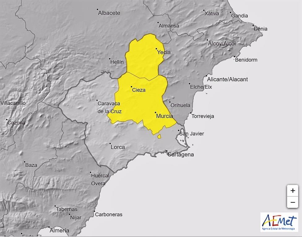Meteorología activa para el lunes el aviso amarillo por lluvias y tormentas en Altiplano y Vega del Segura