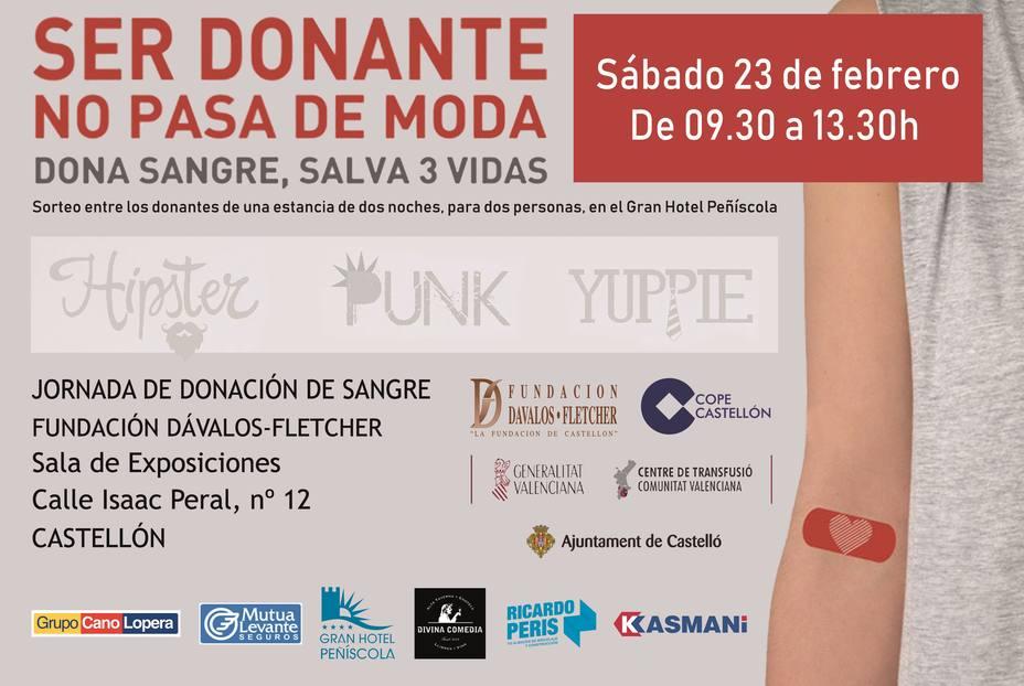 Sábado 23 de febrero, jornada de donación de sangre en Castellón