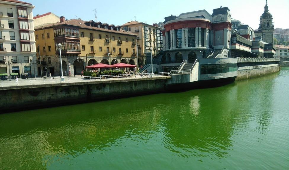 Tiñen de verde la Ría de Bilbao como protesta contra la cumbre del G-7