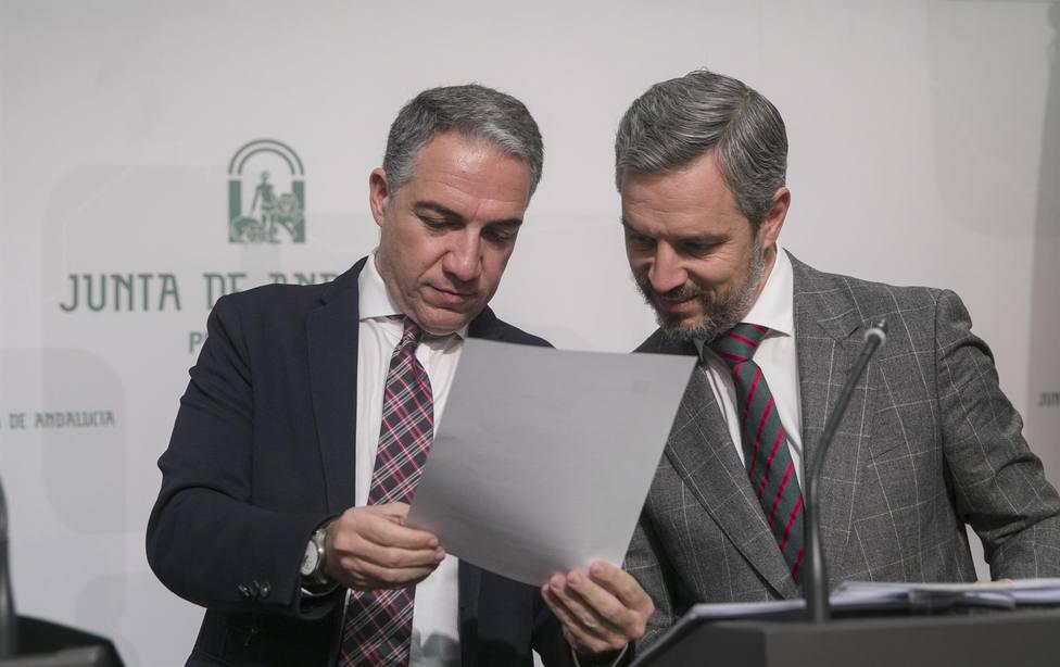 Elias Bendodo , Portavoz de la Junta y Juan Bravo , Consejero de Hacienda