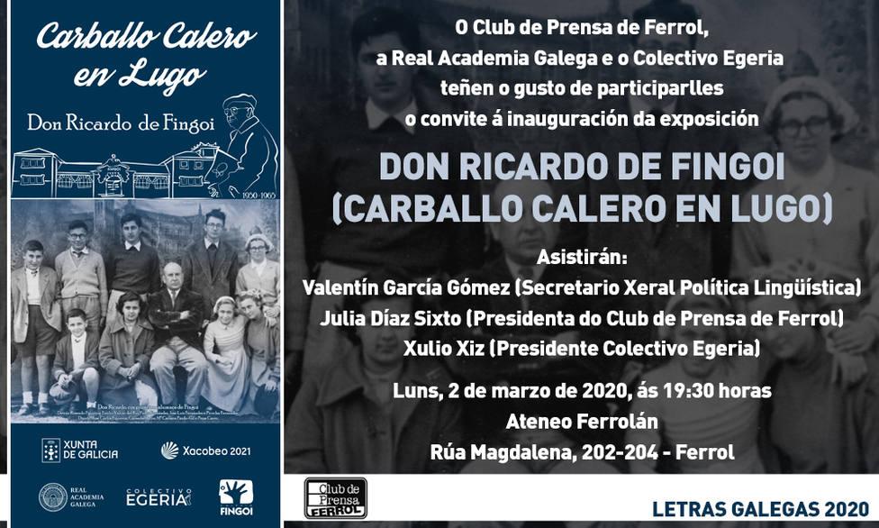Cartel anunciador de la muestra que se inaugura este lunes 2 de marzo en Ferrol sobre Carvalho Calero