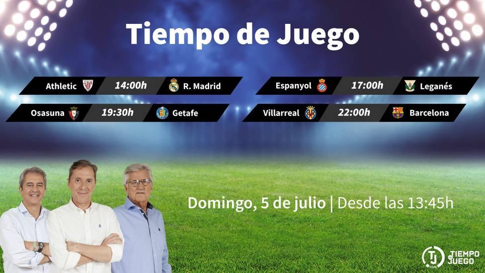 Sigue este domingo desde las 13:45h. Tiempo de Juego con el Athletic - R. Madrid y el Villarreal - Barcelona