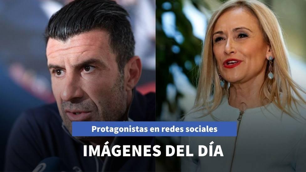 Imágenes del día: las vacaciones de Luis Figo y el mensaje que lanza Cristina Cifuentes a sus detractores