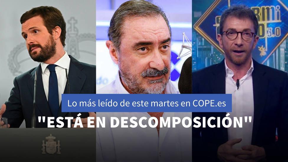 La opinión de Herrera sobre el doble rasero de Podemos con la justicia, entre lo más leído de este martes