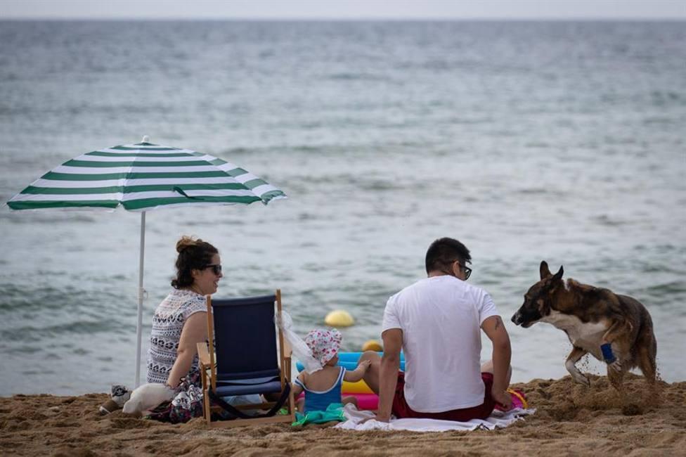 Una familia con su perro en la playa