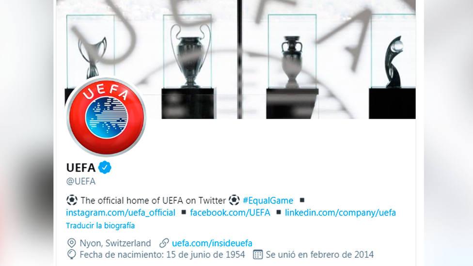 Perfil de la UEFA en Twitter