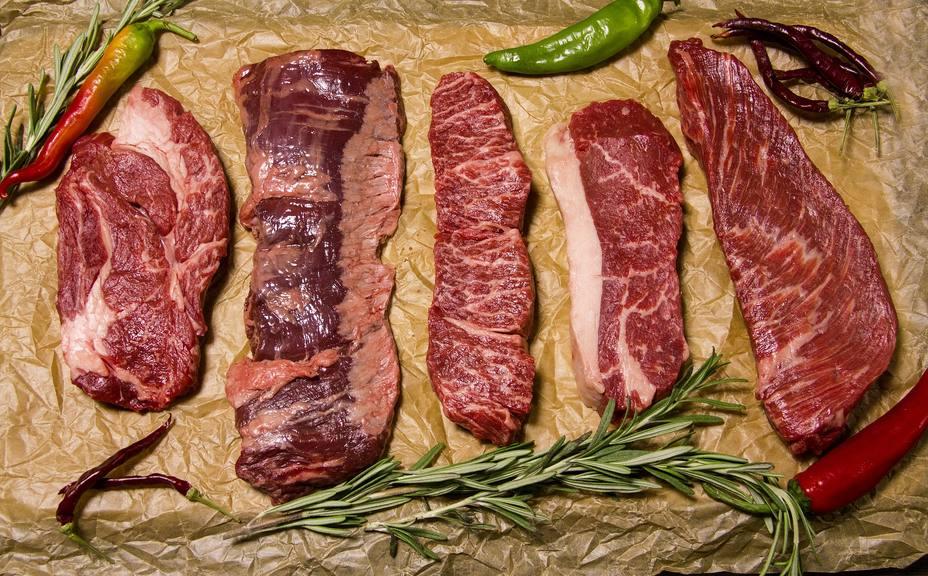 Filetes de diferentes tipos de carnes