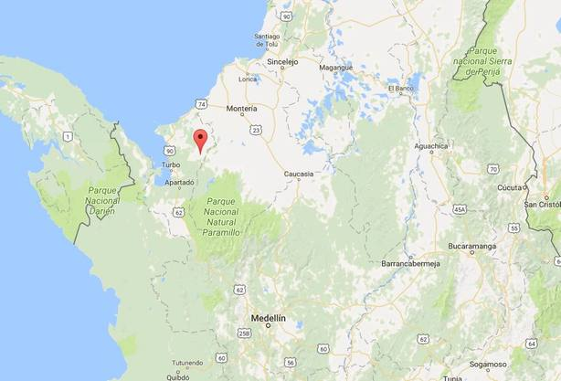 Localización de San Pedro de Urabá, en el estado de Antioquia. Google Maps