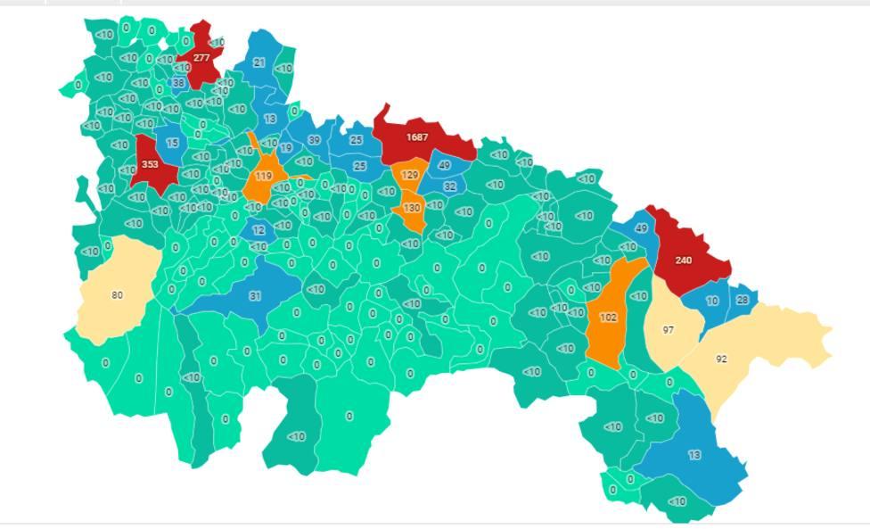 El mapa que señala la incidencia por municipios