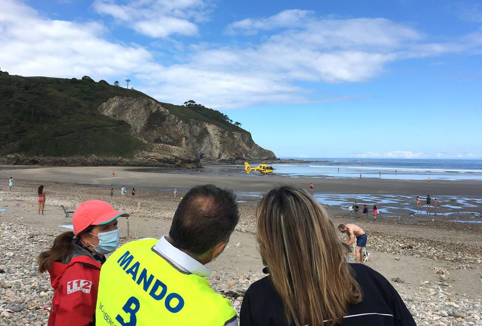 Simulacro de rescate realizado por los servicios de emergencia en Valdés este lunes 3 de agosto