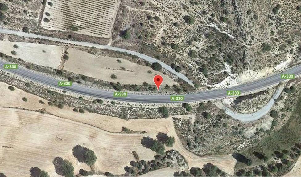 Punto del accidente de tráfico en que ha muerto el conductor de un turismo al chocar con un camión