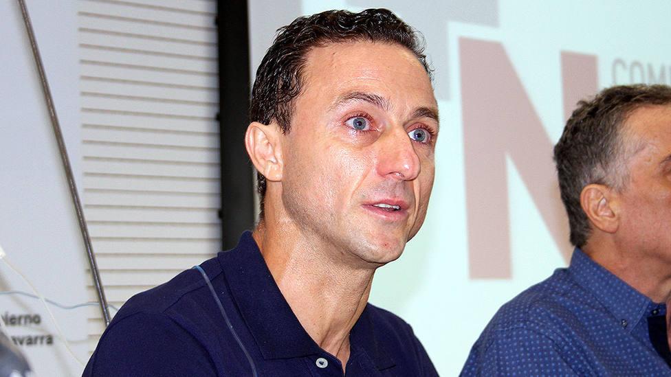 Rafaelillo durante la rueda de prensa que ofreció tras recibir el alta en el Complejo Hospitalario de Navarra