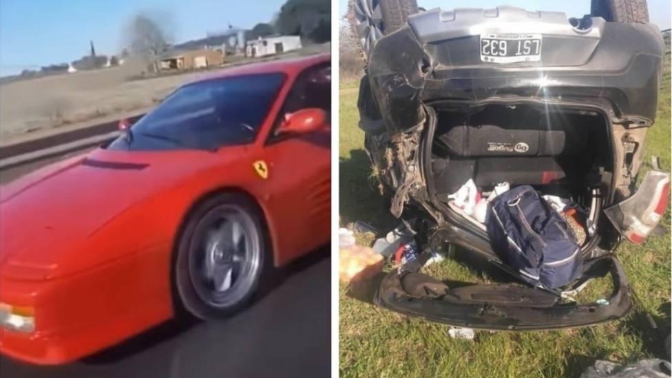 Una chica se graba adelantando a un Ferrari y termina volcando el coche