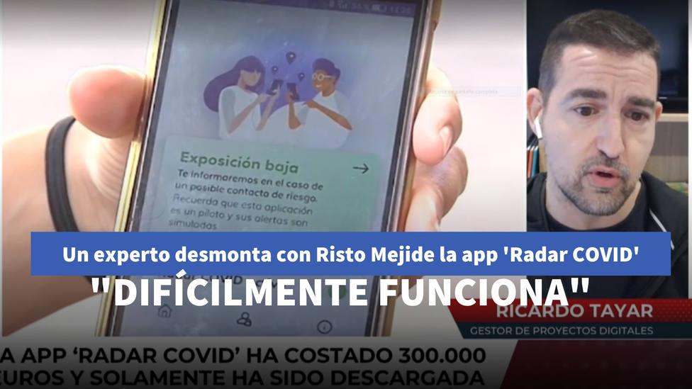 Un experto desmonta con Risto Mejide la app de Moncloa Radar COVID: Difícilmente funciona