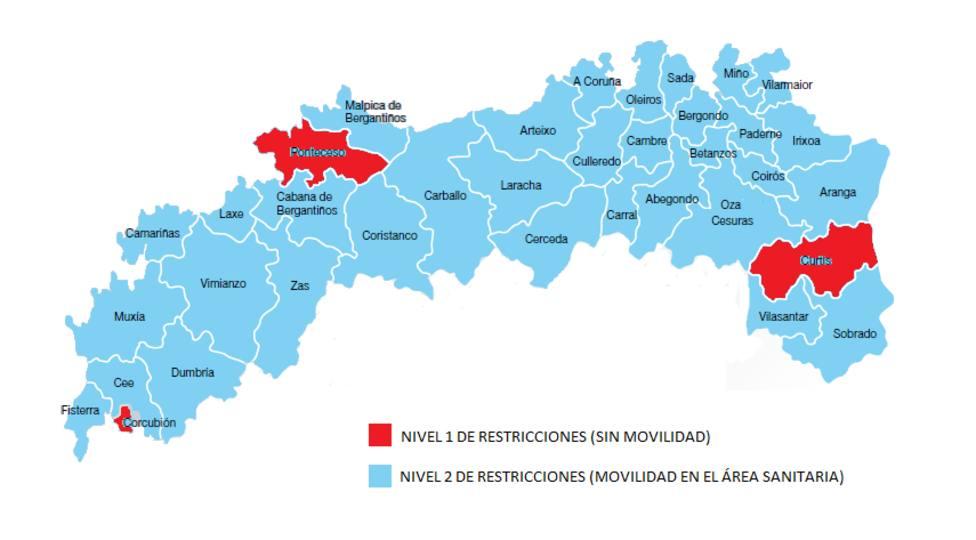 Mapa de niveles y movilidad en el Area Sanitaria A Coruña-Cee desde el viernes, 26 de febrero