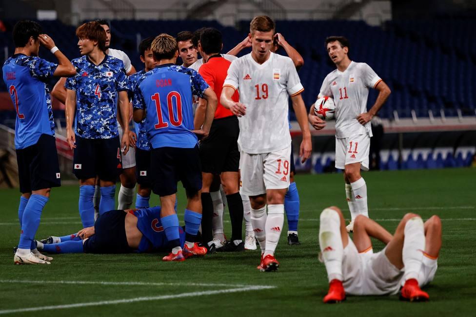 La selección española frente a la de Japón en las semifinales de los Juegos