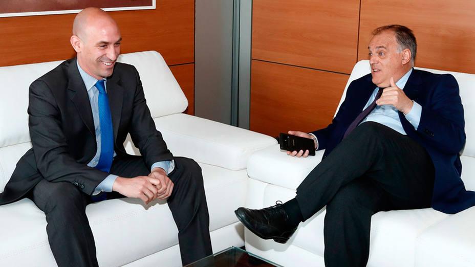 Luis Rubiales y Javier Tebas, durante una reunión entre ambos (FOTO: RFEF)
