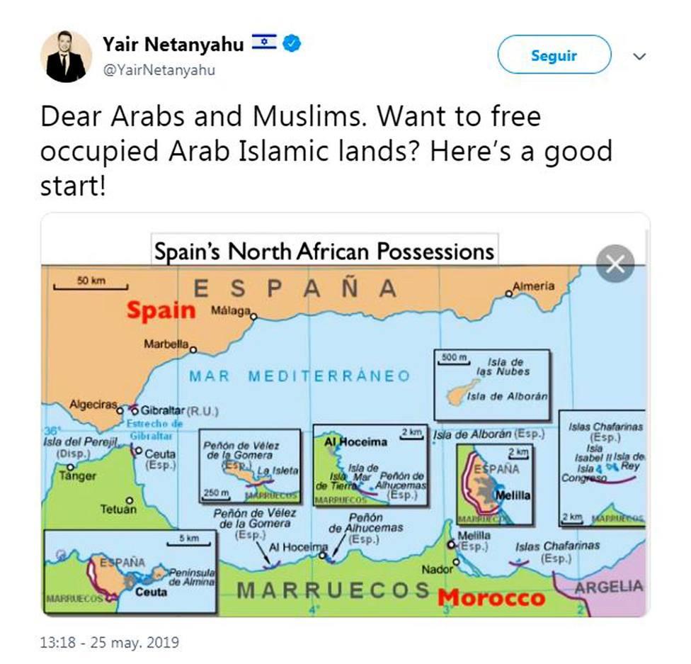 El hijo de Netanyahu sugiere a árabes y musulmanes que liberen Ceuta y Melilla