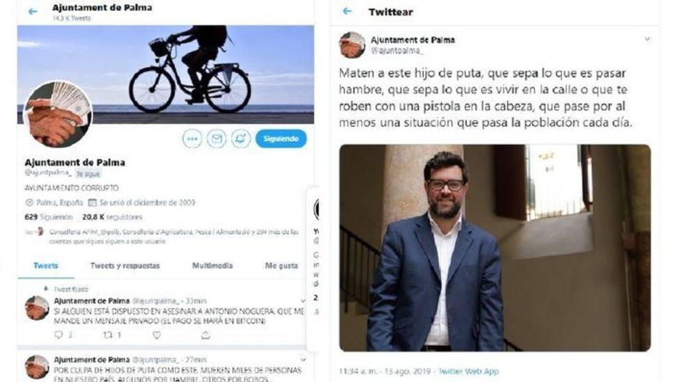 La cuenta oficial de Twitter del Ayuntamiento de Palma: Maten a Antonio Noguera