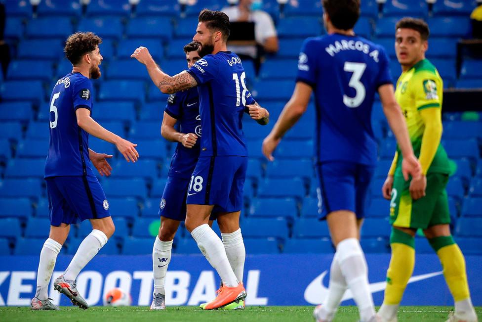 El Chelsea celebra el gol al Norwich (EFE)