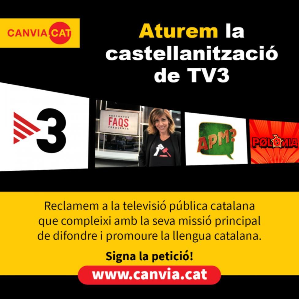 Imagen de la campaña contra el uso del castellano en las entrevistas en TV3